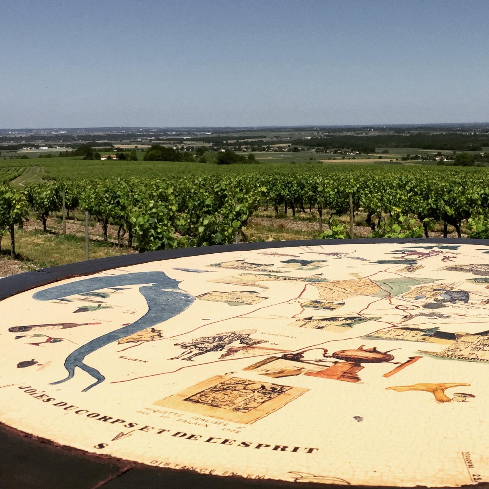 la table d'orientation dans les vignes de cognac
