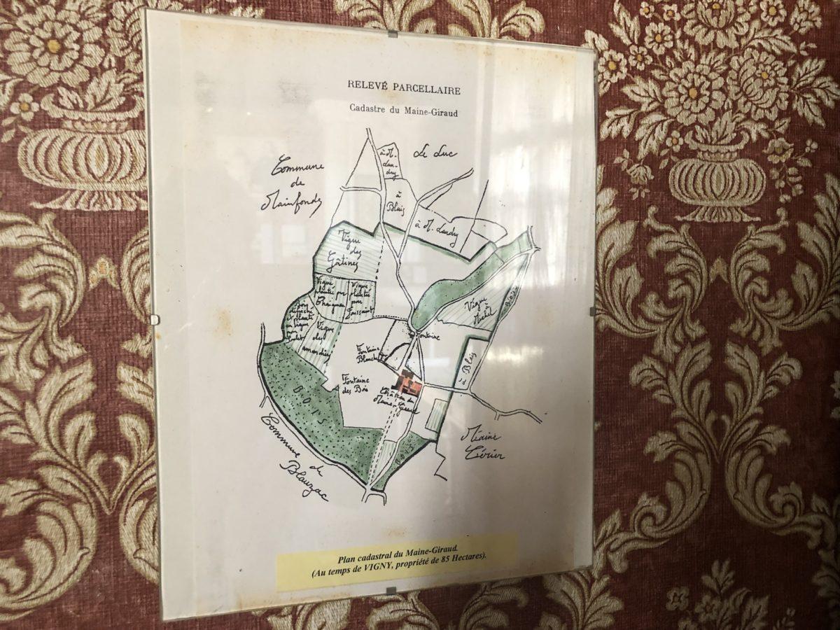 le plan cadastral du maine giraud à l'époque d'Alfre de Vigny