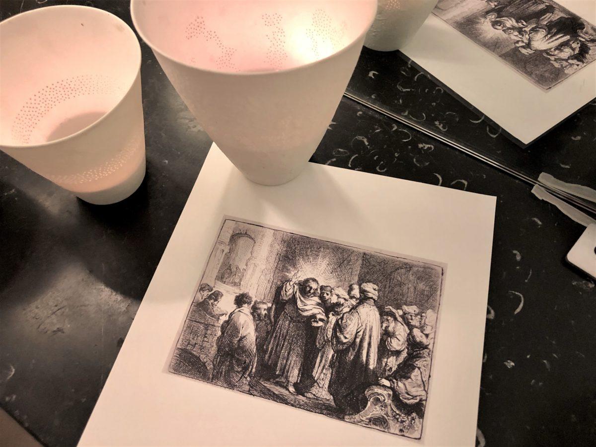 gravure de Rembrandt intitulée le Tribut