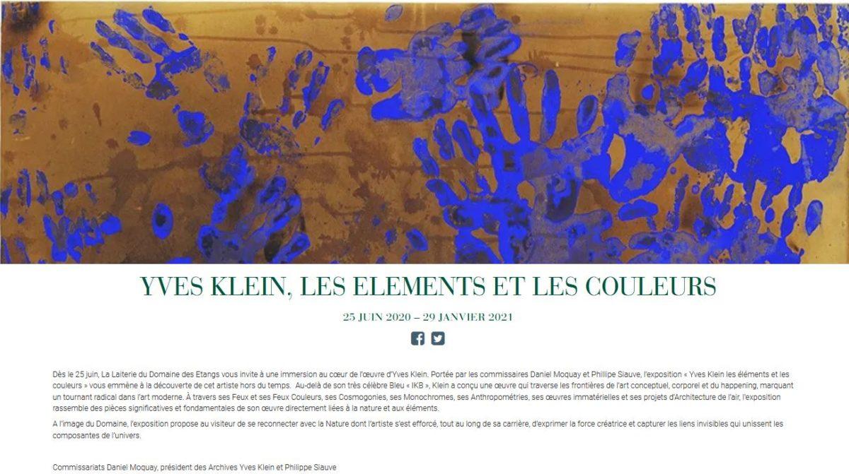 présentation de l'exposition Yves Klein au domaine des étangs