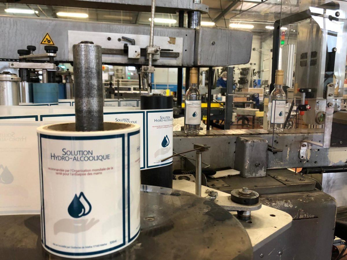 étiquettage de solution hydroalcoolique produit par la filière cognac