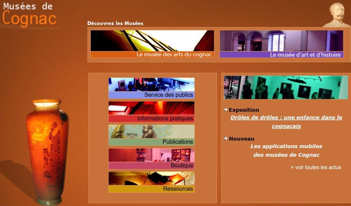 page accueil site musées de Cognac
