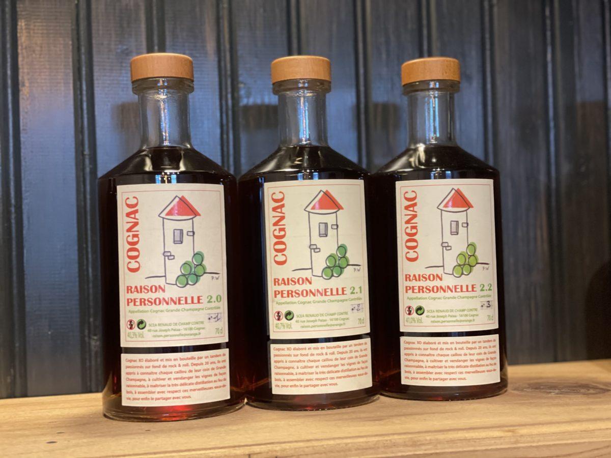la gamme de cognac de Raison Personnelle