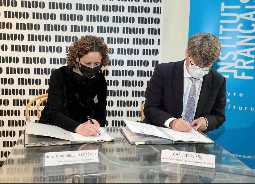signature de l'accord bilatéral de coopération culturelle entre la France et la Croatie