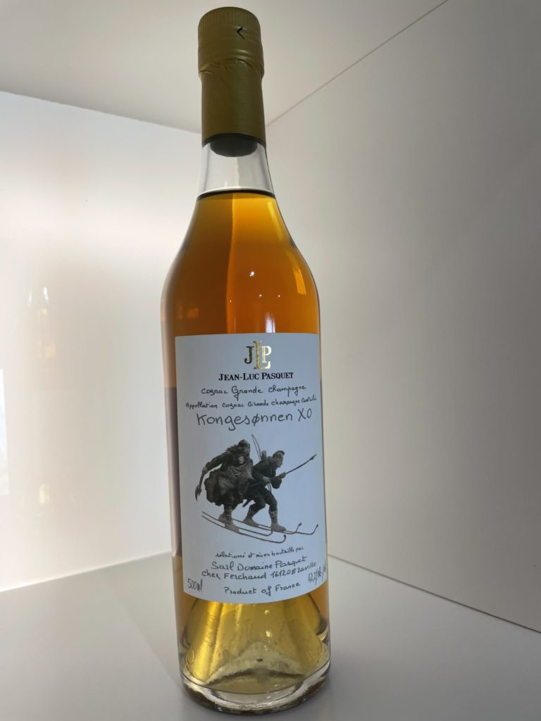 label of the cognac JL Pasquet Grande Champagne tribute to the bierkener warriors protecting the young prince Haakon