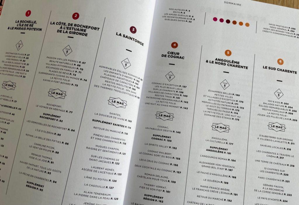sommaire du guide food & travel  Michelin sur Charentes