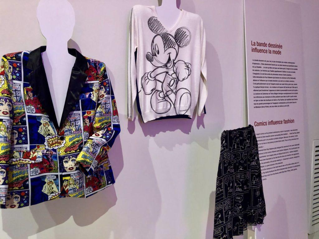 création Jean Charles de Castelbajac exposées lors de Mode et BD à la Cité internatioale de la bande dessinée et de l'image