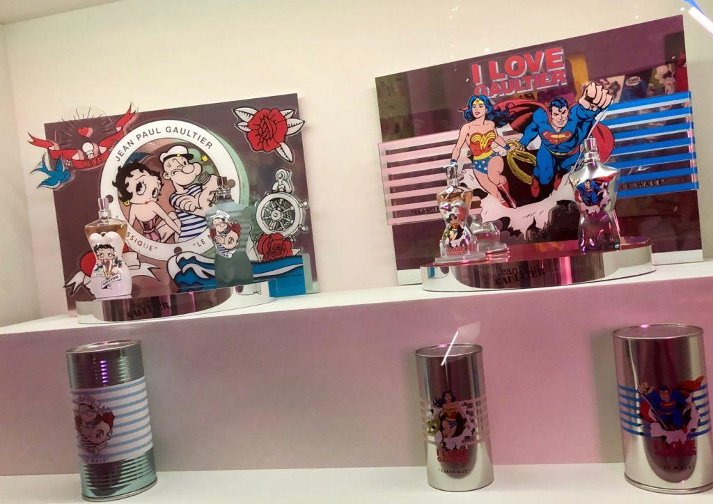 Les parfums de Jean Paul Gautier inspiré de l'univers BD lors de l'exposition Mode et BD en 2019
