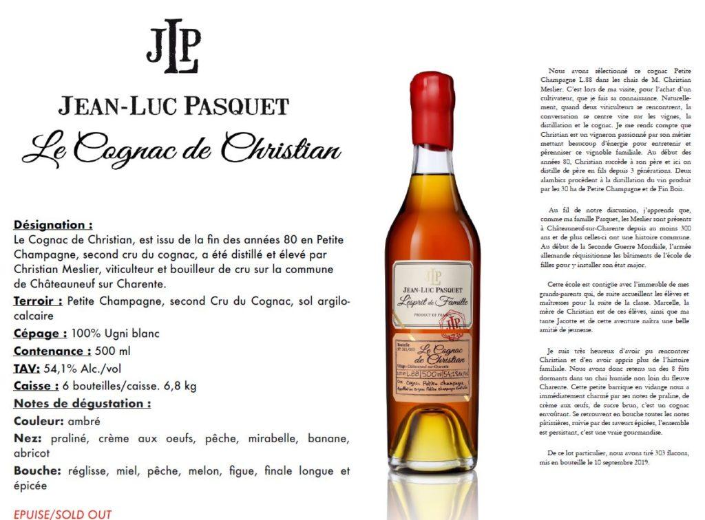 la présentation du cognac de Christian, de la collection L'esprit de famille,cognac Pasquet