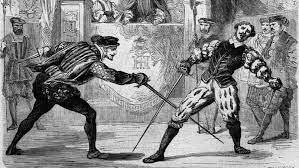 Reproduction de la scène du duel et du fameux coup de Jarnac