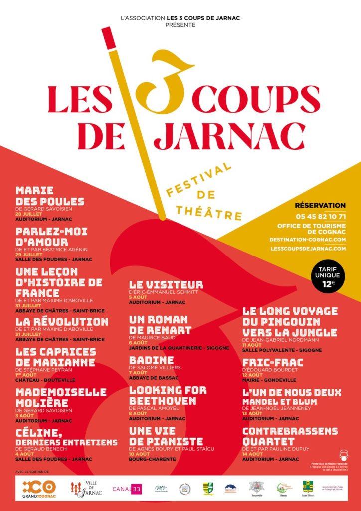 programme du festival de théâtre Les 3 coups de Jarnac